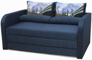 синий выкатной диван лотос браво